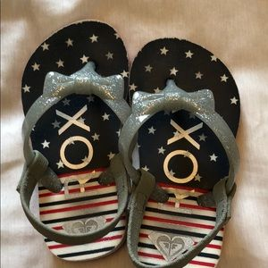 Patriotic Roxy Toddler Sandals